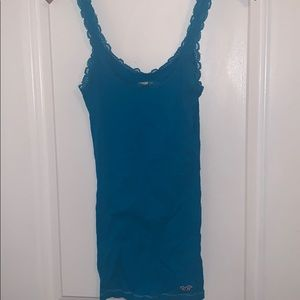 Blue Ribbed Tank Top with Lace Trim
